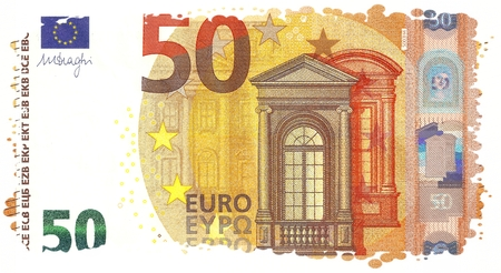 facsimile: Particular Frame of the 2017 New 50 Euro Banknote - Second Series of Fifty Euro Note, Hologram of Mythological Phoenician Princess Europa