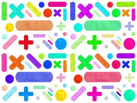 Various Colored Strips of ADHESIVE BANDAGES PLASTER - Medical Equipment - Colorful Pop Art Style - White Background