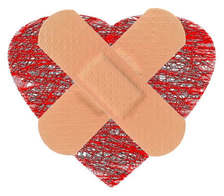 HEART with STRIP of ADHESIVE BANDAGE PLASTER - Medical Equipment