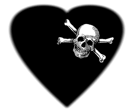 Skull and Crossbones in to the Black HEART, Poison, Icon, Symbol, Black art, gradient edges Stock Photo