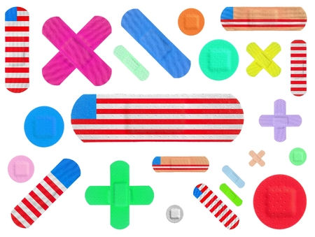 Various Colored Strips of ADHESIVE BANDAGES PLASTER - Medical Equipment - Colorful Pop Art and American Flag Style