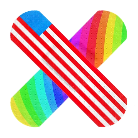 Strips of ADHESIVE BANDAGES PLASTER - Colorful Rainbow and USA Flag Style