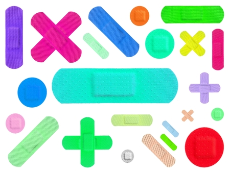 Various Colored Strips of ADHESIVE BANDAGES PLASTER - Medical Equipment - Colorful Pop Art Style