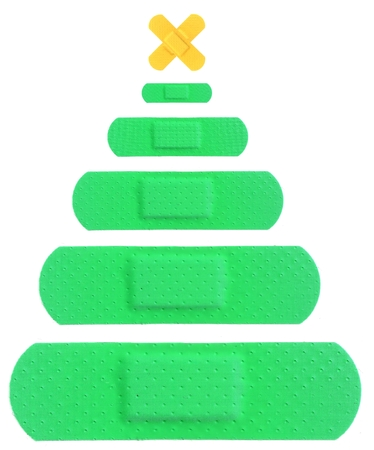 Funny Christmas Tree with Various Strips of FIRST AID PLASTER - Medical Equipment