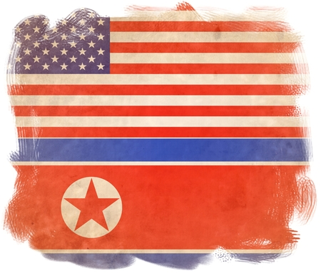 United States of America and North Korea Flags. Concept of political relations between the two countries