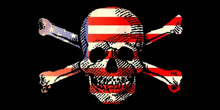 Skull and Crossbones on the Original Antique Sheet of PAPER with US FLAG Stock Photo