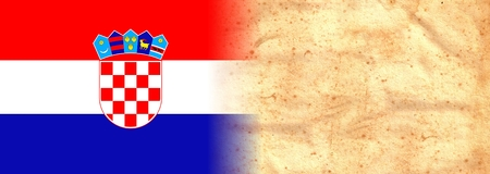 CROATIA Flag on original vintage Parchment paper with space for your text or design Stock Photo