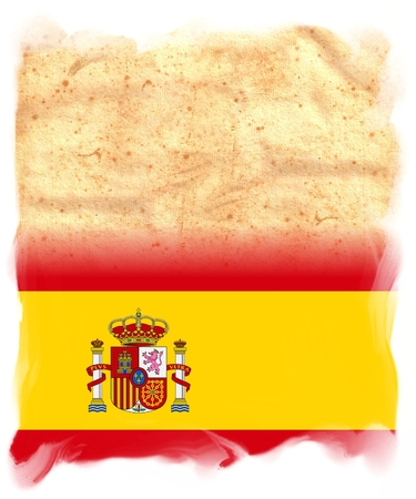 SPAIN Flag on original vintage Parchment paper with space for your text or design Stock Photo