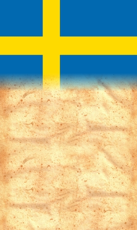 SWEDEN Flag on original vintage Parchment paper with space for your text or design