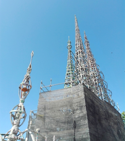 Los Angeles, California, September 10, 2018: WATTS TOWERS by Simon Rodia, architectural structures, located in Simon Rodia State Historic Park, LOS ANGELES