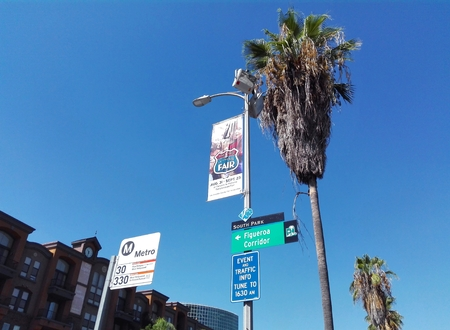 LOS ANGELES, California - September 14, 2018: Los Angeles LA Metro Bus Stop sign Editöryel