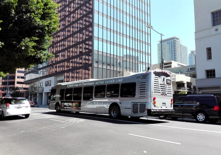 LOS ANGELES, California - September 14, 2018: Los Angeles Metro Bus Silver Line
