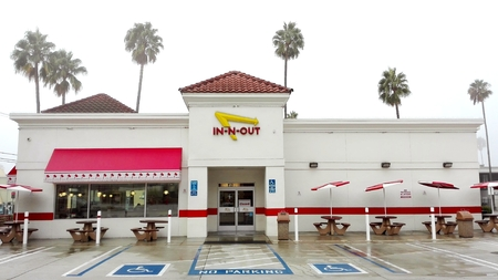 HOLLYWOOD, Los Angeles, California - September 9, 2018: IN-N-OUT BURGER in Hollywood on Sunset Blvd