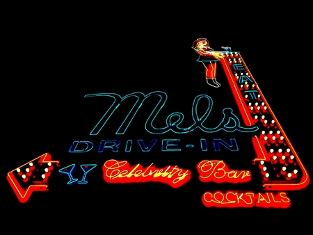 HOLLYWOOD, Los Angeles, California - September 17, 2018: Mels Drive-In Restaurant in HOLLYWOOD in the historic Max Factor Building on Highland Avenue