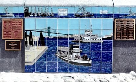 LOS ANGELES, California - September 15, 2018: SAN PEDRO Fishermens Memorial, Los Angeles Harbor Editorial