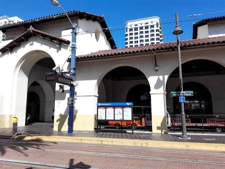SAN DIEGO, California - September 12, 2018: San Diego SAN FE Depot Trains and Trolleys Station