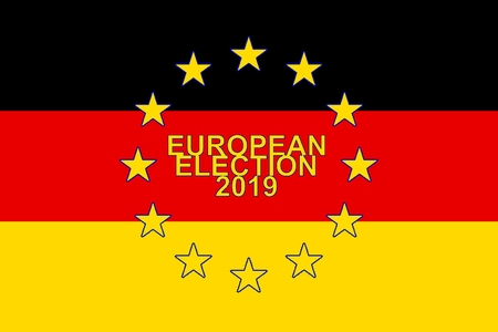 European Parliament election 2019, Flag of Germany and circle of stars of EUROPEAN UNION Stock Photo