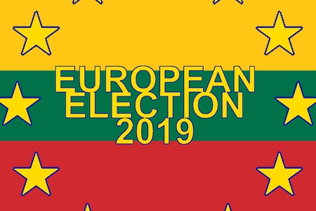 European Parliament election 2019, Flag of Lithuania and circle of stars of EUROPEAN UNION