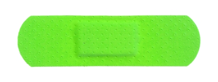 Strip of ADHESIVE BANDAGE PLASTER - UFO Green Color Stock Photo