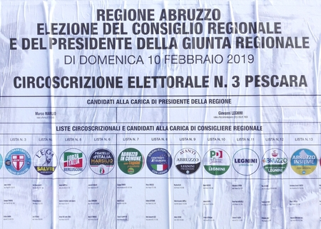 Pescara, Italy - January 26, 2019: Election Wall Posters for the ABRUZZO Regional ELECTIONS of February 10, 2019 Editorial