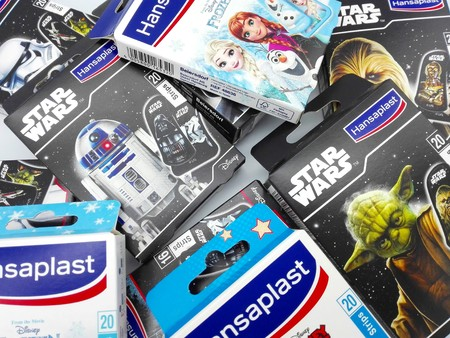 Pescara, Italy - February 11, 2019: STAR WARS, FROZEN and MICKEY MOUSE Boxes of Hansaplast Bandage Strips produced by Beiersdorf