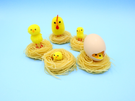Funny Easter Composition with Nest Pasta
