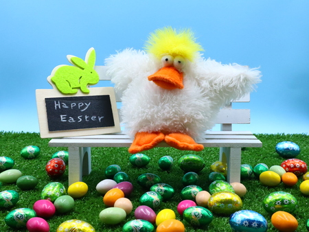 Colorful Easter Composition on the Grass