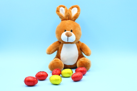 Funny Easter Composition with Teddy Bunny