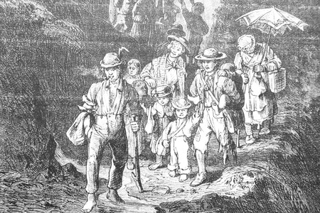 Mountain excursion - Vintage Engraved Illustration, 1894 Stok Fotoğraf