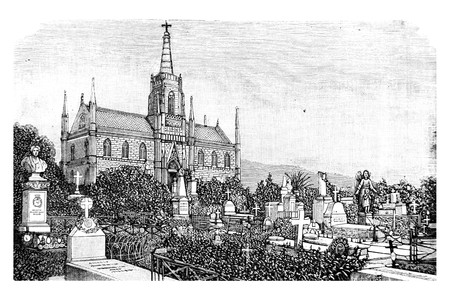 View of the Graves in the Cemetery - Vintage Engraved Illustration, 1894 Фото со стока