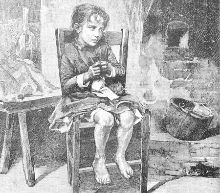 Fearful little girl - Vintage Engraved Illustration, 1894 Stok Fotoğraf