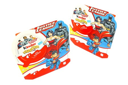 Pescara, Italy? March 23, 2019: Kinder JOY Merendero JUSTICE LEAGUE Chocolate Eggs. Kinder is a brand of products made in Italy by Ferrero, Justice League is a Trademark of DC Comics WB SHIELD WBEI