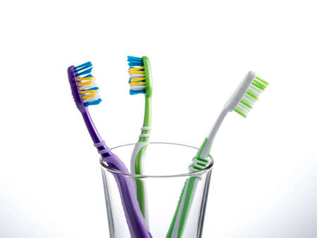 Two toothbrushes on a white background. Stockfoto