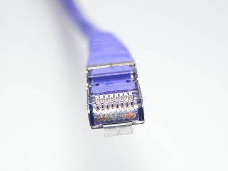 blue network cable macro Modern information technologies. Foto de archivo