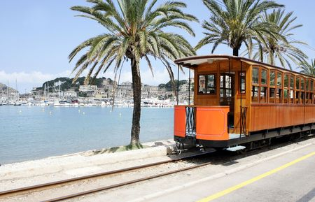 mallorca: a tram at Port de Soller in Mallorca