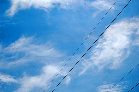 cables electricos: electric cables in the Blue Sky