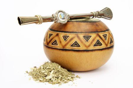 Une gourde calebasse Mate, une Bombilla paille et feuilles s�ch�es Yerba  Banque d'images - 1173772