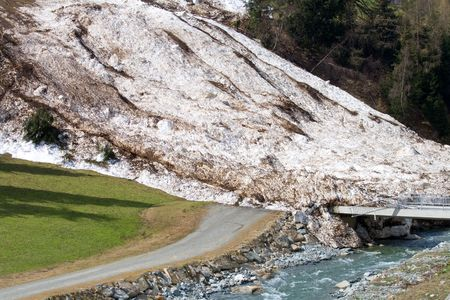 Remains of a snow avalanche and a broken bridge in Tyrol, Austria Stock Photo - 3004854