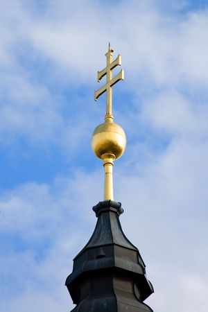 A Patriarchal cross on a church tower Stock Photo - 3373022