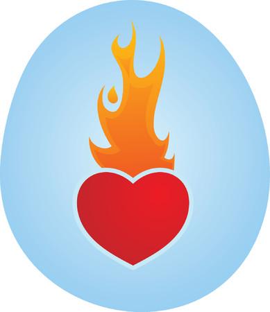 heart burn: Love Heart On Fire Illustration
