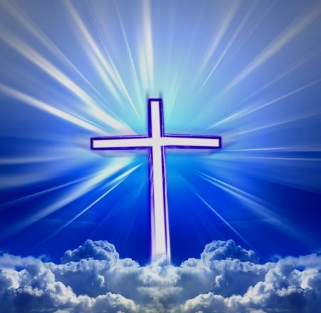 cross in clouds heaven