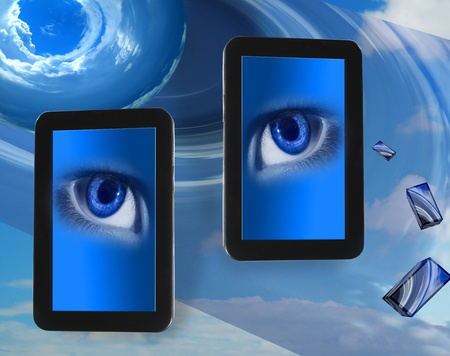 2 pc tablets looking Stock Photo