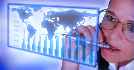 business woman working with statistics on interface Stock Photo
