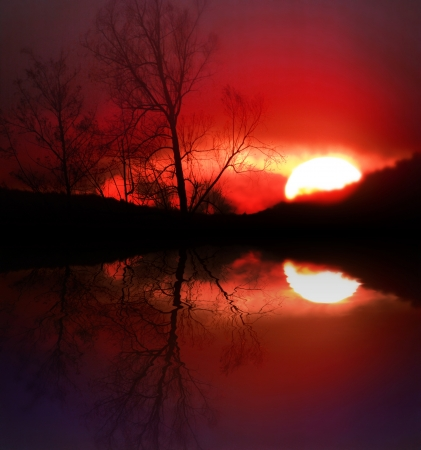 sunset at lake with dead trees, reflection