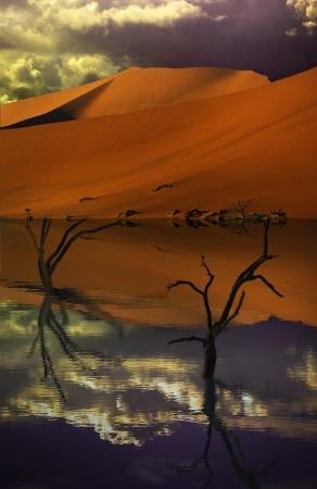 mirage: desert and lake