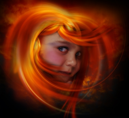 Little  wild girl flaming red hair photo