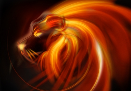 open flame: flaming lion head