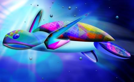 water scape: sea turtle art