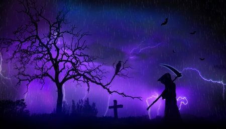 Grim reaper and scary landscape photo