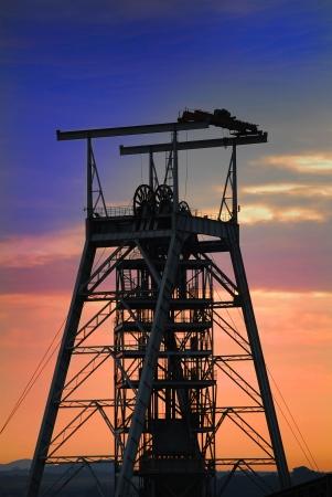 gold mine: Mine shaft sunset